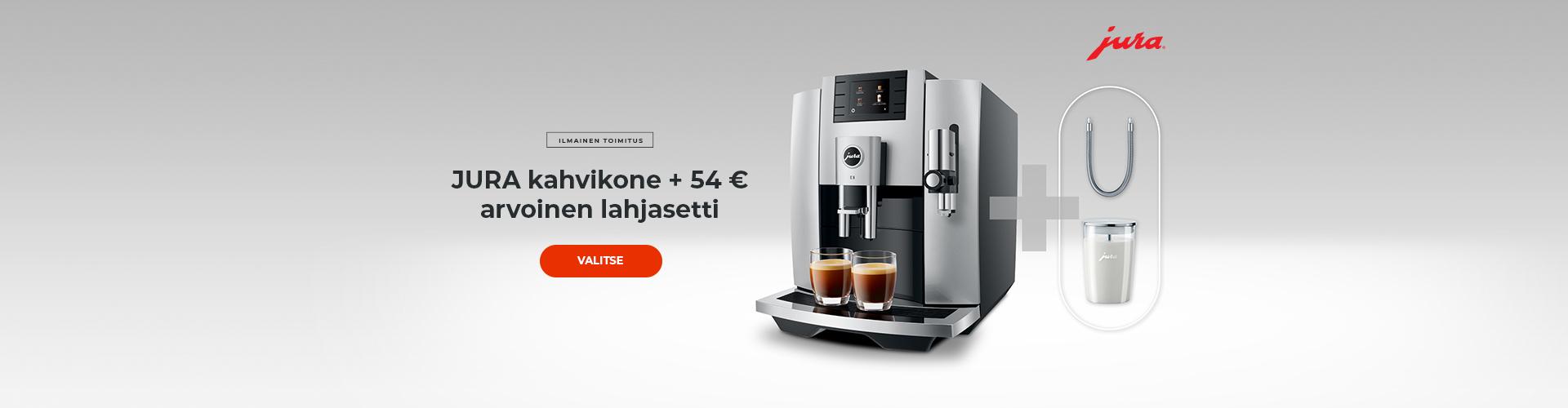 JURA kahvikone + 54 € arvoinen lahjasetti